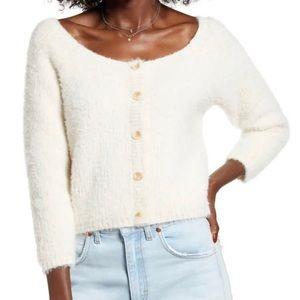 Cotton Emporium Eyelash Crop Sweater white fuzzy